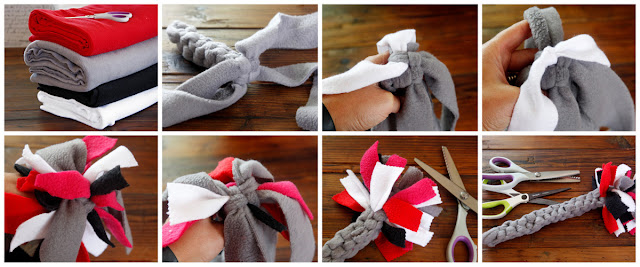 Step-by-step making a Cupid's arrow Valentine's Day dog tug toy