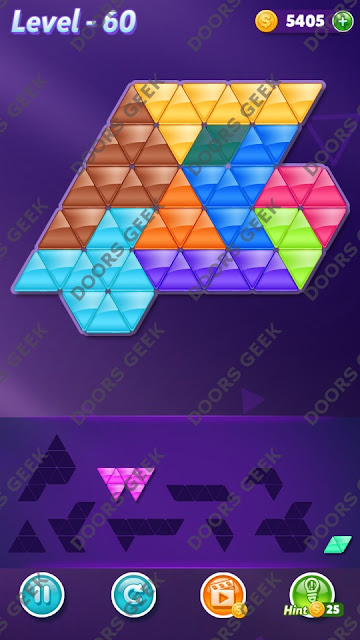 Block! Triangle Puzzle 9 Mania Level 60 Solution, Cheats, Walkthrough for Android, iPhone, iPad and iPod
