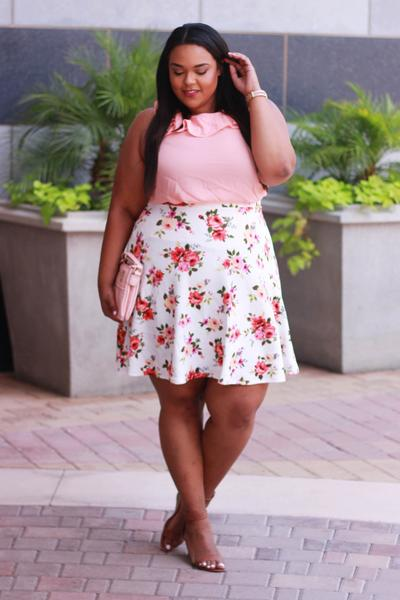 Ruffle Neck Blouse and A Line Floral Skirt Curves on a Budget for Society Plus