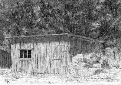 art drawing charcoal wheeler farm shed barn agriculture