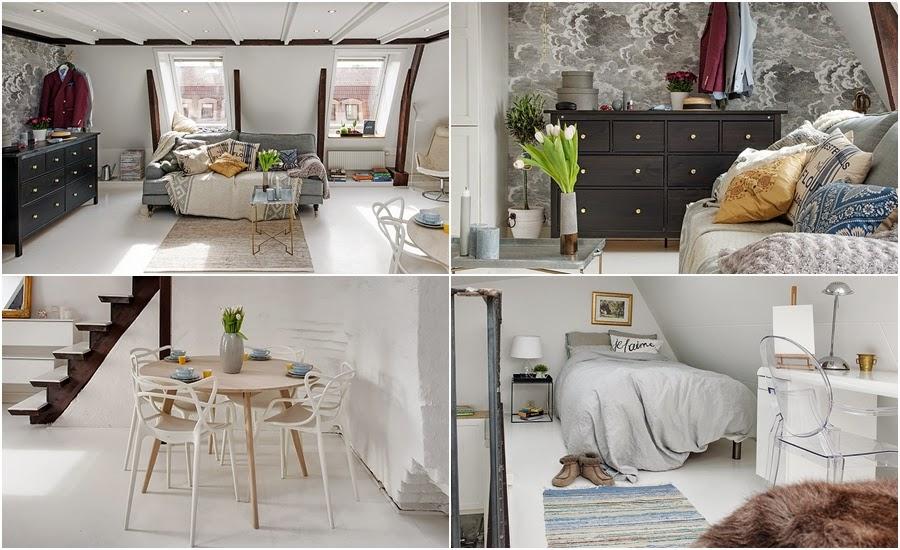 Białe mieszkanie na poddaszu, wystrój wnętrz, wnętrza, urządzanie domu, dekoracje wnętrz, aranżacja wnętrz, inspiracje wnętrz,interior design , dom i wnętrze, aranżacja mieszkania, modne wnętrza,