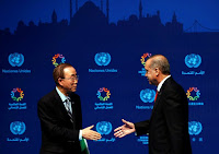 Turkish President Tayyip Erdogan (R) and U.N. Secretary-General Ban Ki-moon shake hands following the closing news conference during the World Humanitarian Summit in Istanbul, Turkey, May 24, 2016. (Credit: Reuters/Murad Sezer) Click to Enlarge.