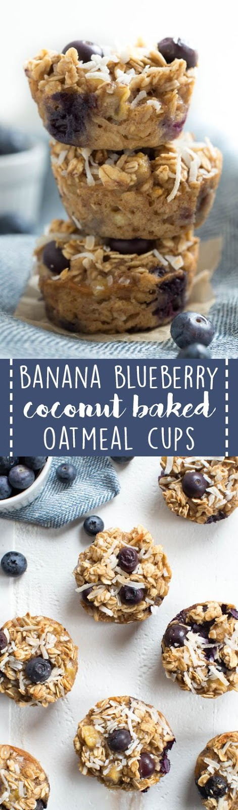 BANANA BLUEBERRY COCONUT BAKED OATMEAL CUPS