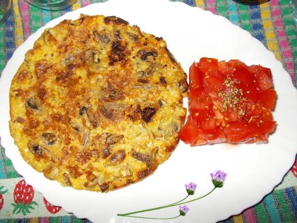 Omelete light de aveia com cogumelos e mussarela