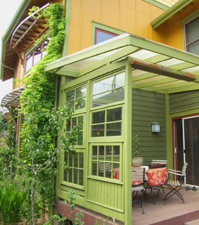 Relaxshacks Com A Porch Wall Made From Recycled Windows