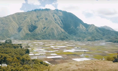 A royalty free of aerial drone shot of Highlands Sembalun Lombok Indonesia