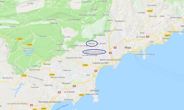 Mapa de Vence y St. Paul de Vence: