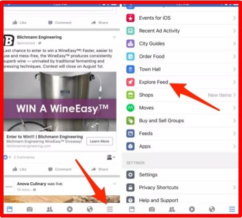 Facebook Explore Feed ios