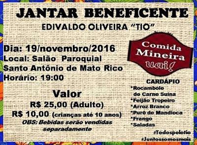 Ação Entre Amigos: Mato Rico realiza Jantar Beneficente
