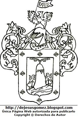 Escudo de Armas de Arequipa para colorear, pintar e imprimir. Dibujo del escudo de Arequipa hecho por Jesus Gómez