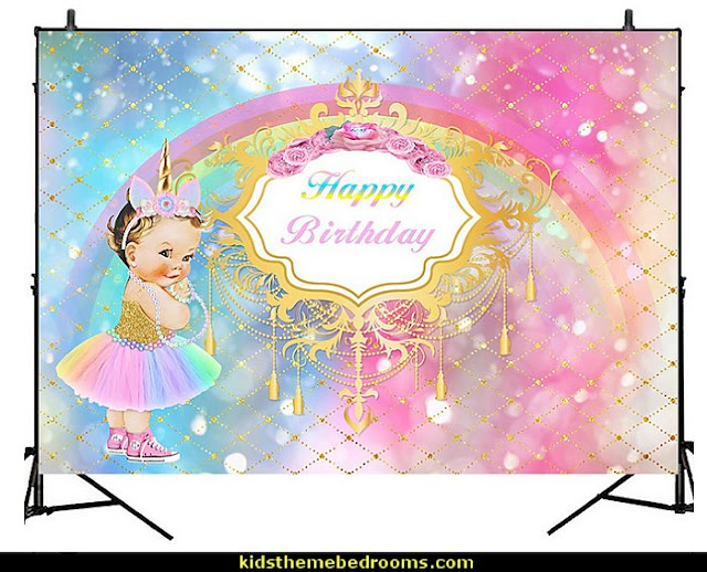 Little Princess with Unicorn Headband Vinyl Photo Background Watercolor Gold Shining Rainbow Birthday Party  unicorn party supplies - rainbow unicorn party decorations - unicorn birthday party - Unicorn Themed Party -  Unicorn Balloons  -  unicorrn cupcakes - rainbow decorations - Unicorn  Garlands - sequin tablecloth - tutu table skirt -  Unicorn Costume