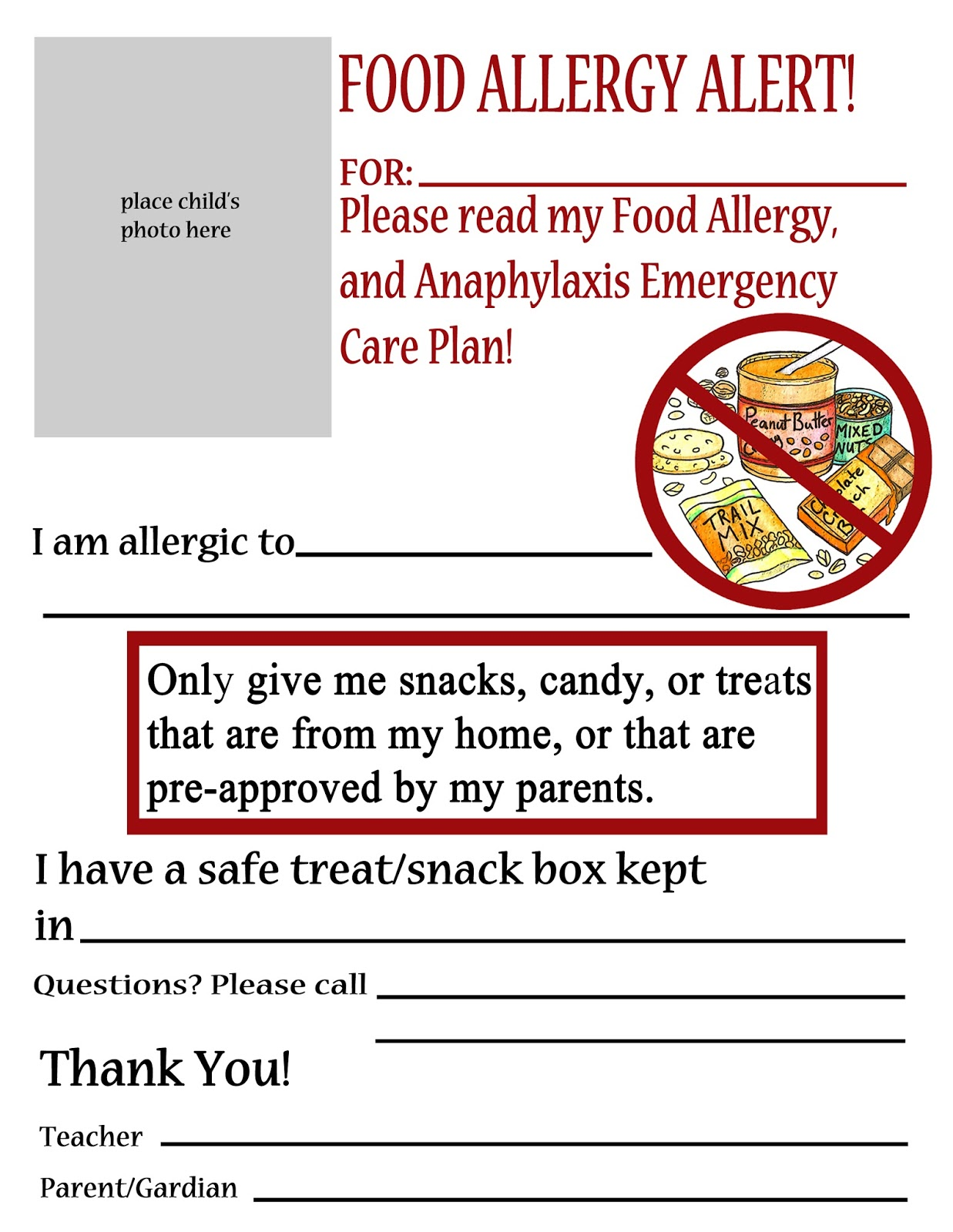 Thriving With Allergies Food Allergy Alert Daycare And