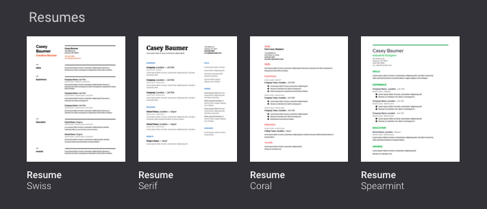 can you create a resume on google docs