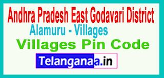 East Godavari District Alamuru Mandal and Villages Pin Codes in Andhra Pradesh State