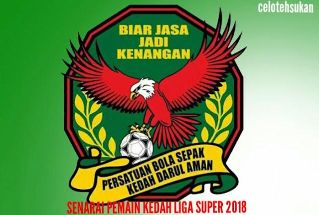 Senarai Pemain Kedah 2018 Liga Super