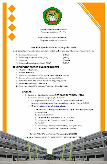 Loker Guru MTs. Plus Riyadlul Huda & SMA Riyadlul Huda Tahun 2018 - 2019