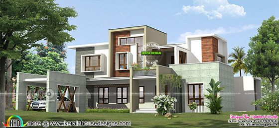 Contemporary box model home with 4 BHK