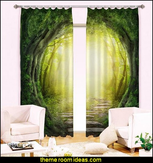 Woodland Corridor Print Blackout 3D Curtain