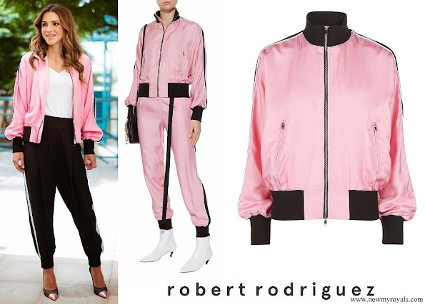 Queen Rania wore Robert Rodriguez Silk Track Jacket