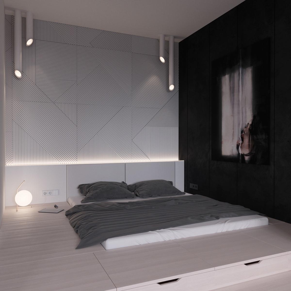 Bedroom Furniture China Bedroom Carpet Layout Bedroom Decor Small Mens Apartment Bedroom: 59 Desain Kamar Tidur Nuansa Hitam Putih