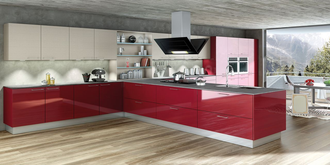 Cuisine design rouge brillante - Cuisine design rouge et blanc ...