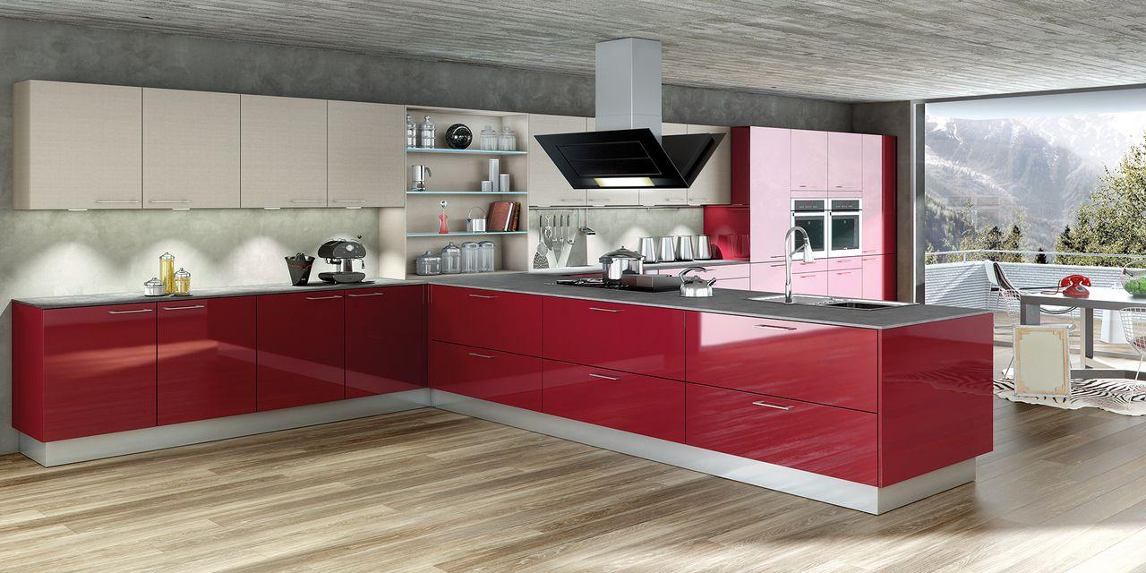 Cuisine design rouge brillante - Cuisine design rouge et blanc ...