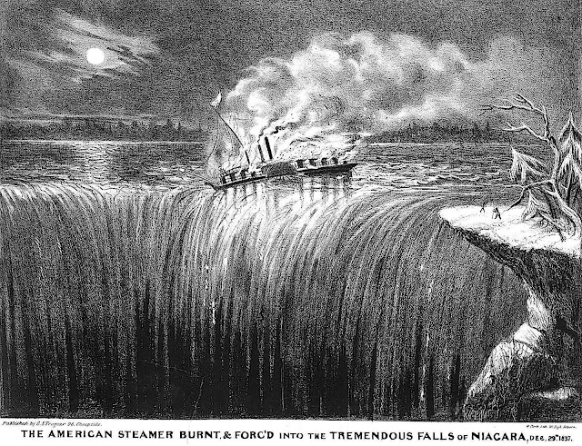 In 1838 a junked steamship was set on fire and floated over Niagara Falls  for the amusement of spectators.  In 1827 a local tavern sponsored a  boat of live animals sent over the falls.