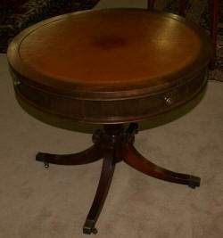 Antiques: Nice round hand tooled leather top Duncan Phyfe ...