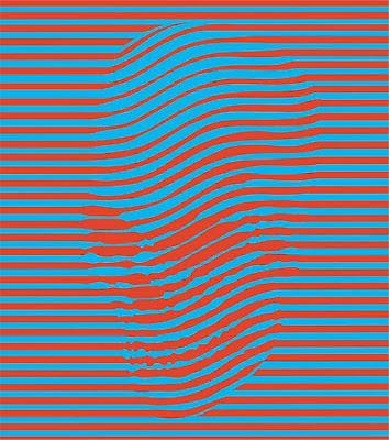 Calavera formada por lineas y colores azul y rojo.