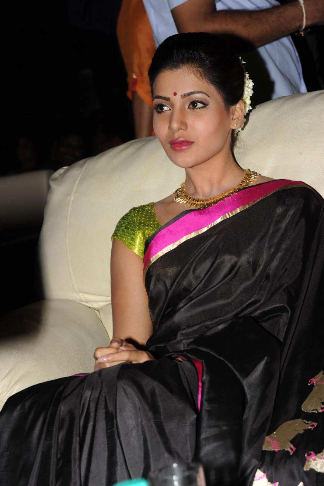Samantha Photos Black Saree At Channel Launch
