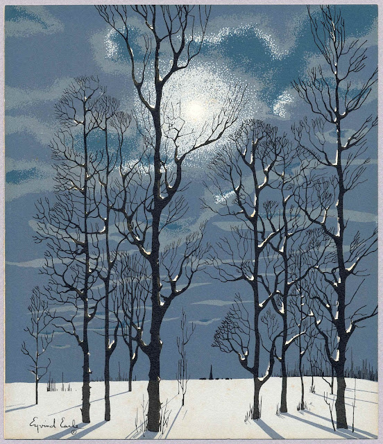 Eyvind Earle winter trees at night with moon