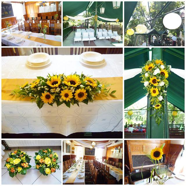 napraforgó esküvői dekoráció asztaldísz