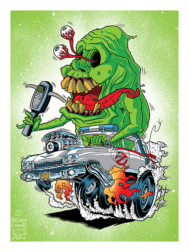 "Ghostbusters x Rat Fink ""Ghost Fink"" Screen Print by Brian Ewing"