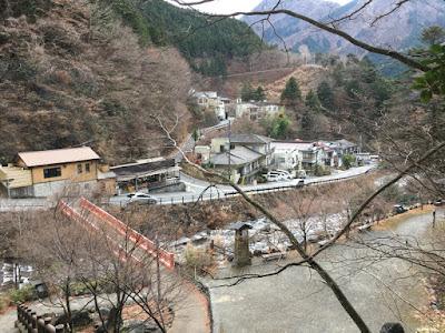 おゆのふるさと公園から見る梅ヶ島温泉街