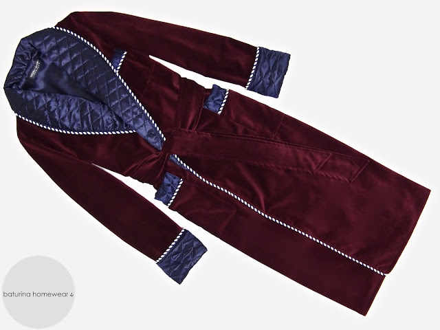 Mens red velvet dressing gown warm quilted silk smoking jacket robe