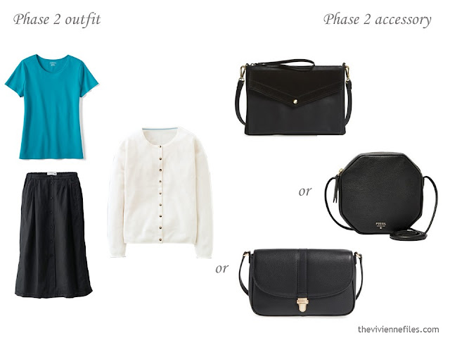 how to accessorize a capsule wardrobe in a Turquoise, Coral, Black and Ivory color palette - Handbags