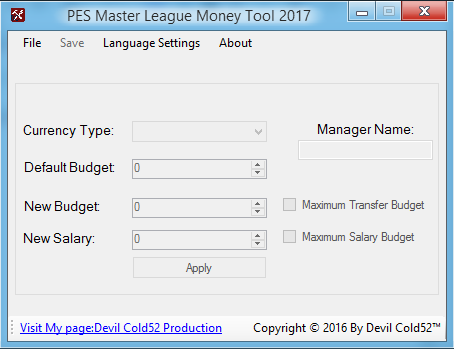 PES 2017 Master League Money Tool by Devil Cold52