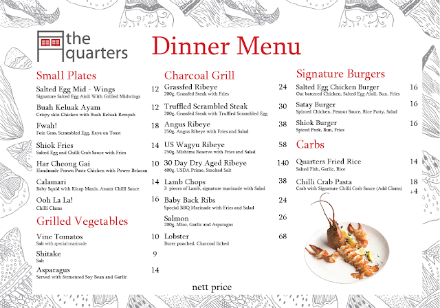 the quarters singapore review dinner menu 2017