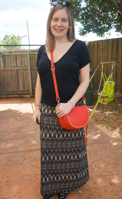 Away From Blue | monochrome black post baby maxi skirt outfit red cross body bag