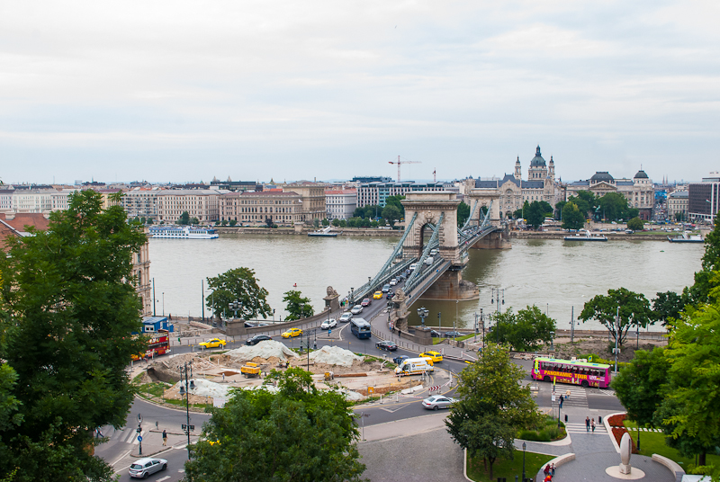 Aerial view of budapest in the day with the chain bridge in view