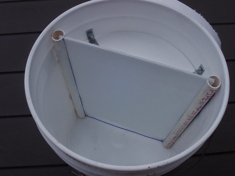 Fill with Chicken Feed in this section of the feeder bucket
