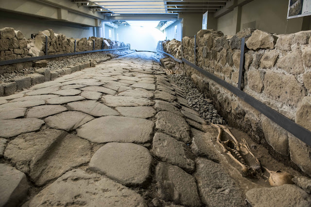 Ancient road preserved under popular fast food restaurant in Rome
