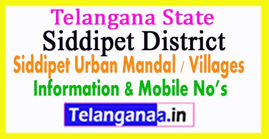 Siddipet Urban Mandal Village in Telangana State