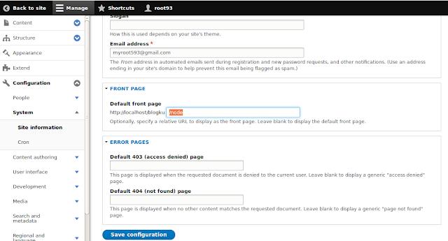 mengatur front page drupal 8