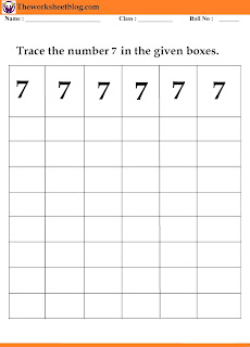 number 7  tracing worksheet