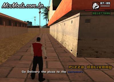 trabalhar de entregador de pizza gta
