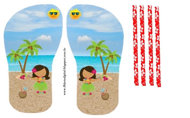 Fiesta Hawaiana de Chicas: Invitación con Forma de Sandalia para Imprimir Gratis. Hecho. Hecho