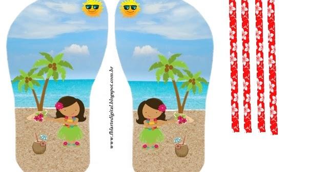 girls luau  free printable sandal shaped invitations