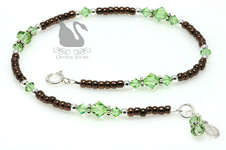 Crystal Peridot Brown Charm Beaded Anklet (A104)