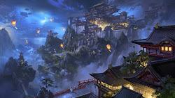 anime castle japanese sky mountain 4k scenery lantern night desktop hd ultra